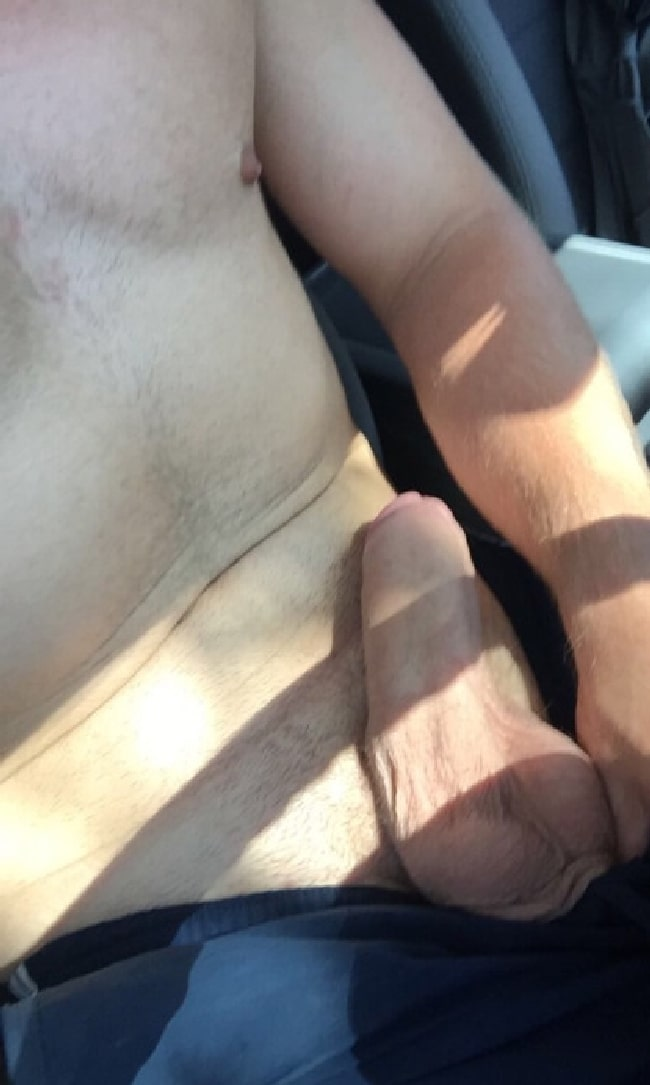 Man In A Car Have His Fat Cock Out