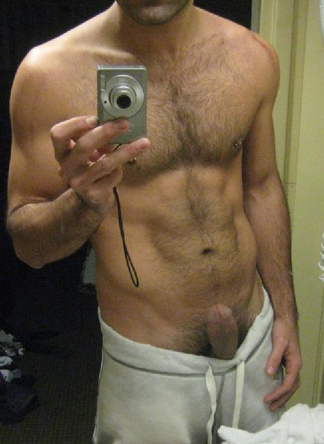 Hairy Man With His Dick Sticking Out - Self Picture Boys